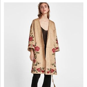 NWT Zara Faux Suede Coat with Embroidery. Size M